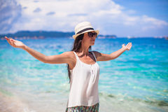 Young beautiful woman enjoying the holiday on Royalty Free Stock Image