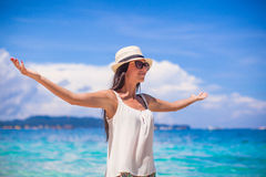 Young beautiful woman enjoying the holiday on Royalty Free Stock Photos