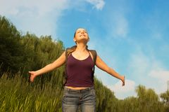 Young beautiful woman enjoying life. Freedom concept of happines Stock Photos