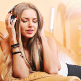 Young beautiful woman enjoying the music Stock Photo