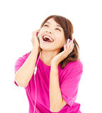 Young beautiful woman enjoying the music Stock Photos