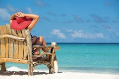 Young beautiful woman enjoying summer vacation, beach relax, sum Royalty Free Stock Photography