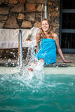 Young Beautiful Woman Enjoying Summer Vacation In Luxury Hotel P Royalty Free Stock Photos