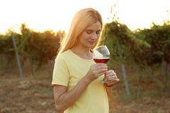 Young beautiful woman enjoying wine at vineyard. On sunny day stock photos