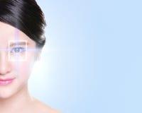 Young and beautiful woman eye stock image