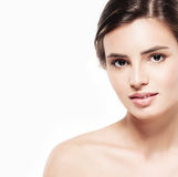 Young beautiful woman face close-up beauty portrait with healthy nature skin and perfect make-up Stock Photo