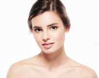 Young beautiful woman face close-up beauty portrait with healthy nature skin and perfect make-up Stock Photography