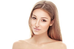 Young beautiful woman face portrait with healthy skin Royalty Free Stock Image