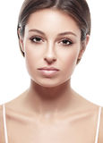 Young beautiful woman face portrait with healthy skin Stock Photos