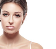 Young beautiful woman face portrait with healthy skin Royalty Free Stock Images