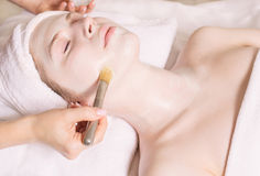 Young beautiful woman with facial mask, spa treatment Stock Images
