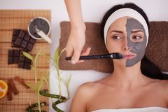 Young beautiful woman with facial mask, spa treatment.  Stock Image