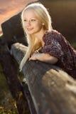 Young beautiful woman at farm Royalty Free Stock Photos