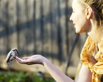 The young beautiful woman feeds a bird from a hand, focus on a bird Royalty Free Stock Photos