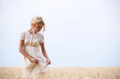 Young beautiful woman on field Stock Image