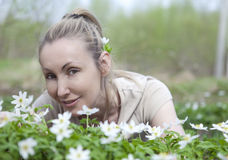 The young beautiful woman in the field Royalty Free Stock Photography