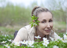 The young beautiful woman in the field  Stock Photo