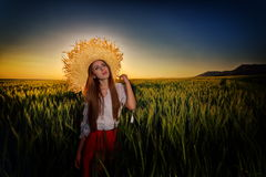 Young beautiful woman on field in summer Stock Image