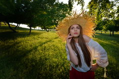 Young beautiful woman on field in summer Stock Photos