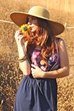 Young Beautiful Woman on a Field in Summer Time Royalty Free Stock Photos