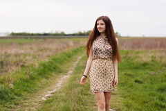 Young beautiful woman in the fields Stock Photography