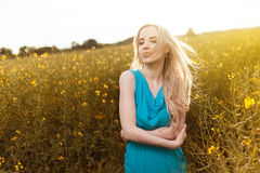 Young beautiful woman in the fields Royalty Free Stock Photo