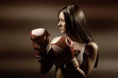 Young beautiful woman during fitness and boxing Royalty Free Stock Photos