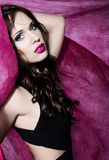 Young beautiful woman with flawless skin and perfect make-up and brown hair Royalty Free Stock Image