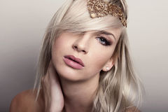 Young beautiful woman with flawless skin and perfect make-up and brown hair Stock Images