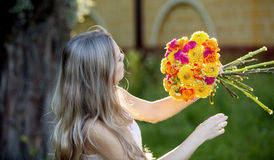 Young beautiful woman florist. The girl in the Stock Images
