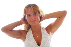 Young beautiful woman with a flower Royalty Free Stock Photography