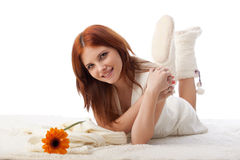 Young beautiful woman with flower Royalty Free Stock Image