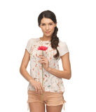 Young and beautiful woman with flower Stock Images
