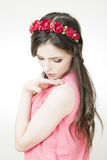 Young beautiful woman with flower wreath on head Stock Photos
