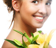 Young beautiful woman with flower Stock Photography