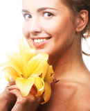 Young beautiful woman with flower Royalty Free Stock Photo