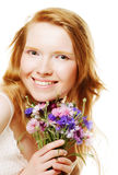 young beautiful woman with flowers Stock Photos