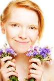 Young beautiful woman with flowers Royalty Free Stock Photo