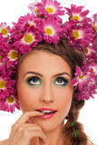 Young beautiful woman with flowers in hair Stock Photography