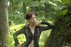 Young beautiful woman  in a forest Stock Image