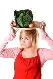 Young beautiful woman with fresh savoy cabbage Royalty Free Stock Photo