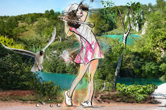 Golf, golfer. Young beautiful woman in front of landscape. Mixed media. Stock Photos