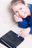 Young beautiful woman in front of laptop Royalty Free Stock Photo