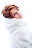 Young beautiful woman in the fur Stock Photos