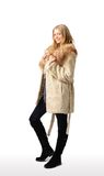 Young beautiful woman in  fur coat Royalty Free Stock Image