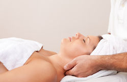 Young beautiful woman getting spa treatment Royalty Free Stock Photography