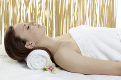 Young beautiful woman getting spa treatment Stock Photography
