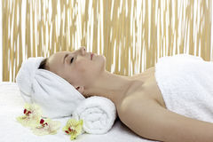 Young beautiful woman getting spa treatment Royalty Free Stock Images