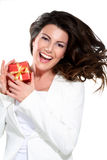 Young beautiful woman with a gift Stock Photo