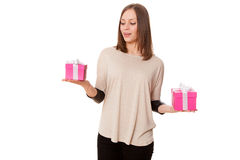 Young beautiful woman with a gift box Royalty Free Stock Photo